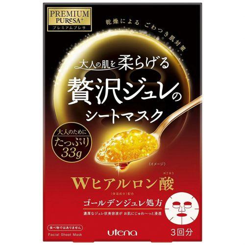 UTENA Premium Puresa Golden Jelly(GELEE) Mask Hyaluronic Acid 3 Sheets