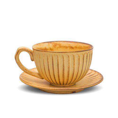 NESTLADY Japanese Vertical Pattern Coffee Cup Set (Yellow)