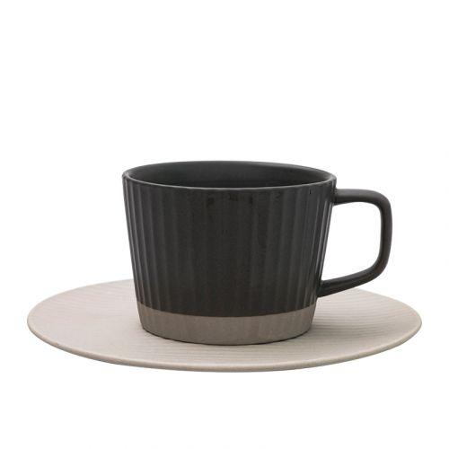 NESTLADY Japanese Line Style Coffee Cup Set (Dark Grey)